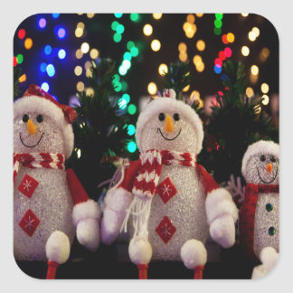 Snowman and Family ornaments on Tree Square Sticker