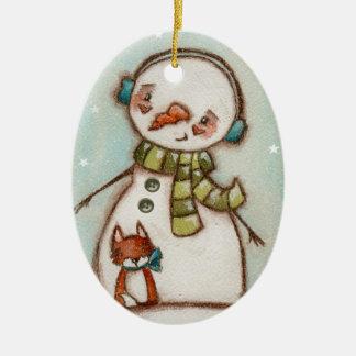 Snowman and Fox - Ceramic Ornament