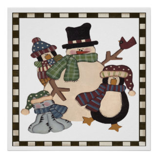 Snowman and Friends Poster