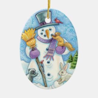 Snowman and Friends Retro Christmas Christmas Ornament