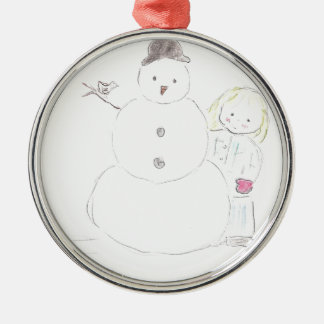 Snowman and Girl Christmas Ornament