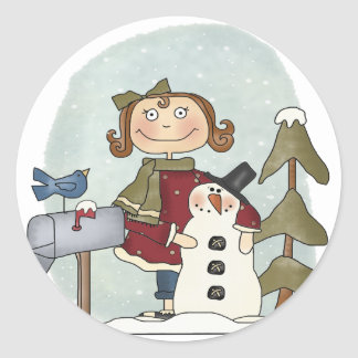 Snowman and Girl Round Stickers