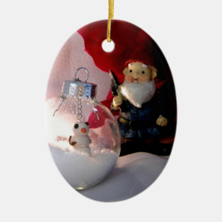 Snowman and Gnome Ceramic Oval Decoration