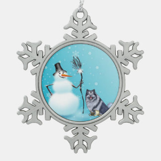 Snowman and keeshond ornament