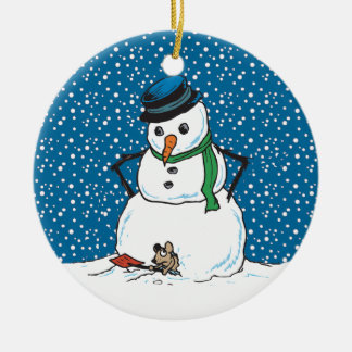 Snowman and Mouse Ornament