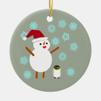 Snowman and Penguin Christmas Ornament