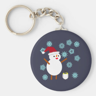 Snowman and Penguin Key Ring