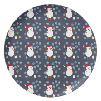 Snowman and Penguin Plate