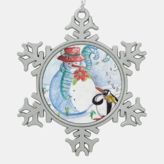 SNOWMAN AND PENGUIN'S WINTER SERENADE PEWTER SNOWFLAKE DECORATION