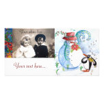 SNOWMAN AND PENGUIN'S WINTER SERENADE CUSTOMIZED PHOTO CARD