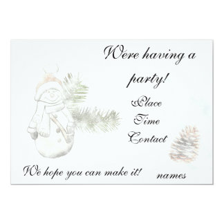 Snowman and Pine cone Christmas Party 13 Cm X 18 Cm Invitation Card