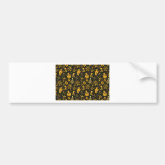 Snowman and Present Pattern Bumper Sticker
