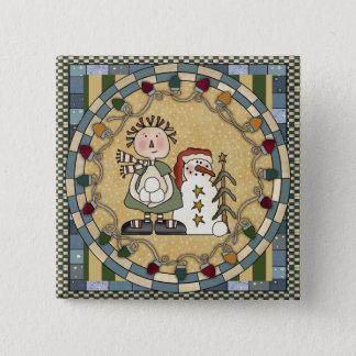 Snowman and Raggedy Annie 15 Cm Square Badge