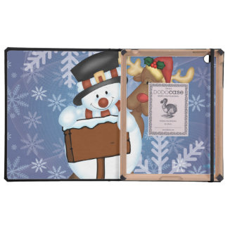 Snowman and Reindeer Merry Christmas Case For iPad