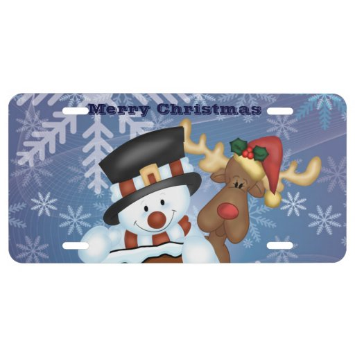Snowman and Reindeer Merry Christmas License Plate