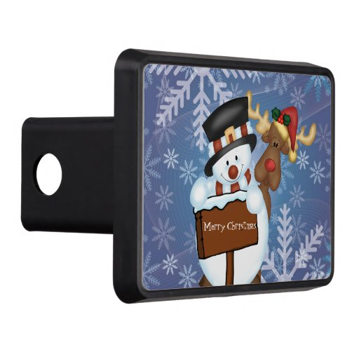 Snowman and Reindeer Merry Christmas Trailer Hitch Covers