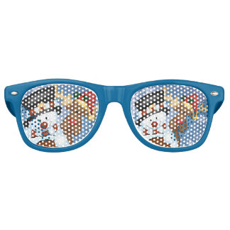 Snowman and Reindeer Merry Christmas Retro Sunglasses