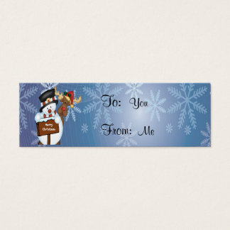 Snowman and Reindeer Mini Business Card