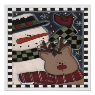 Snowman and Rudolph Poster