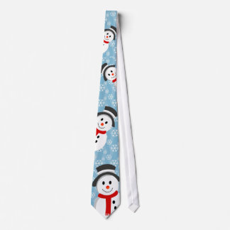 Snowman and Snowflake Pattern Tie