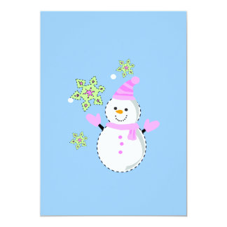 Snowman and snowflakes screen small card