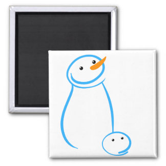 Snowman and Steve Sketch Square Magnet