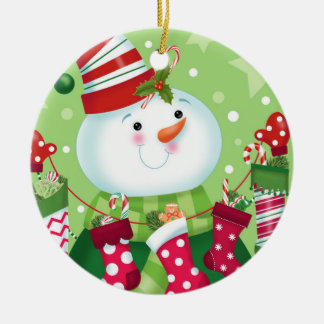 Snowman and Stockings Ornament