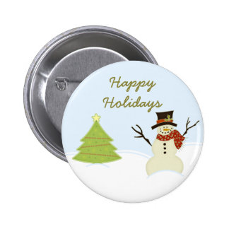 Snowman and Tree Christmas Button