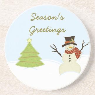 Snowman and Tree Christmas Coaster