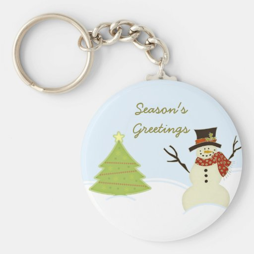 Snowman and Tree Christmas Keychain