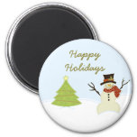 Snowman and Tree Christmas Magnet