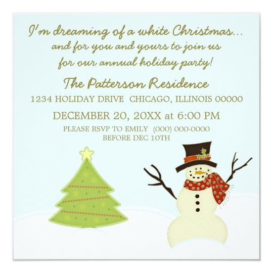 Snowman and Tree Christmas Party Invite