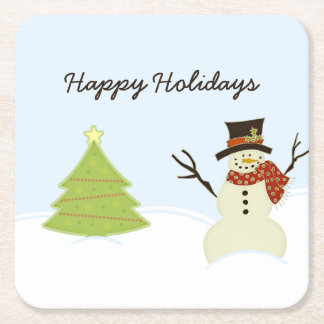 Snowman and Tree Square Paper Coaster