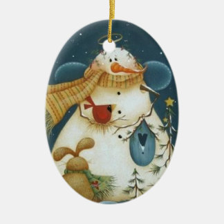 Snowman Angel and Forest Friends Ornament