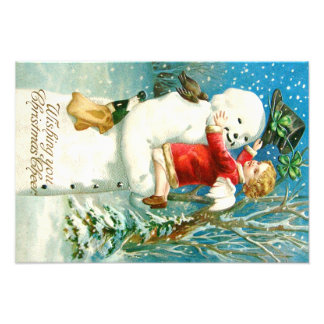 Snowman Angel Cherub Four Leaf Clover Photo