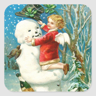 Snowman Angel Cherub Four Leaf Clover Square Sticker