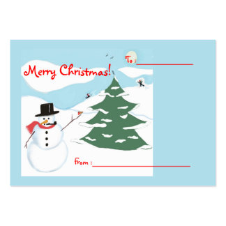 Snowman Art Christmas Gift Tag Pack Of Chubby Business Cards