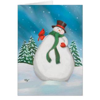 Snowman At Night Holiday Greeting Card