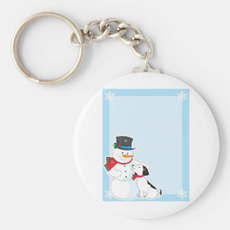 Snowman Background Key Ring