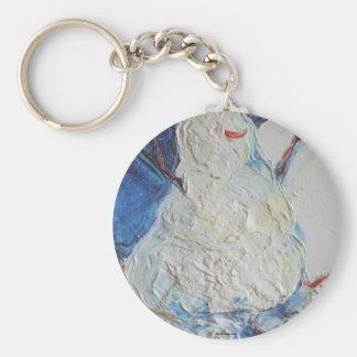 Snowman Basic Round Button Key Ring