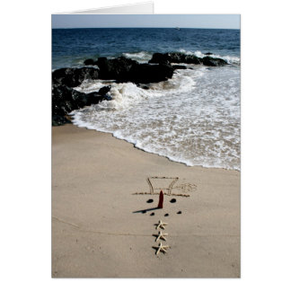 Snowman Beach Christmas Holiday Card