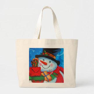 Snowman bearing Gifts Large Tote Bag