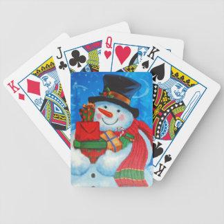 Snowman bearing Gifts Poker Deck