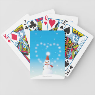 Snowman Bicycle Playing Cards