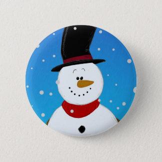 Snowman - Blue 6 Cm Round Badge