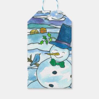 Snowman Bluebird Merry Christmas Gift Tags