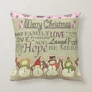 Snowman Breast Cancer Awareness Pillow