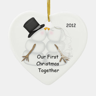 Snowman BRIDE & GROOM First Christmas Together Ceramic Heart Decoration