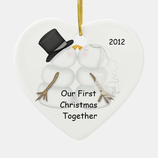 Snowman BRIDE & GROOM First Christmas Together Christmas Ornament