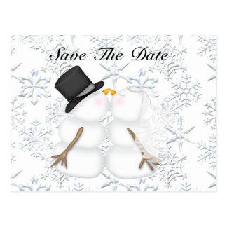 Snowman BRIDE & GROOM SAVE THE DATE Postcard